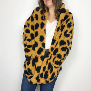 LULAROE Brown Leopard Teddy Bear Sherpa Jacket SM